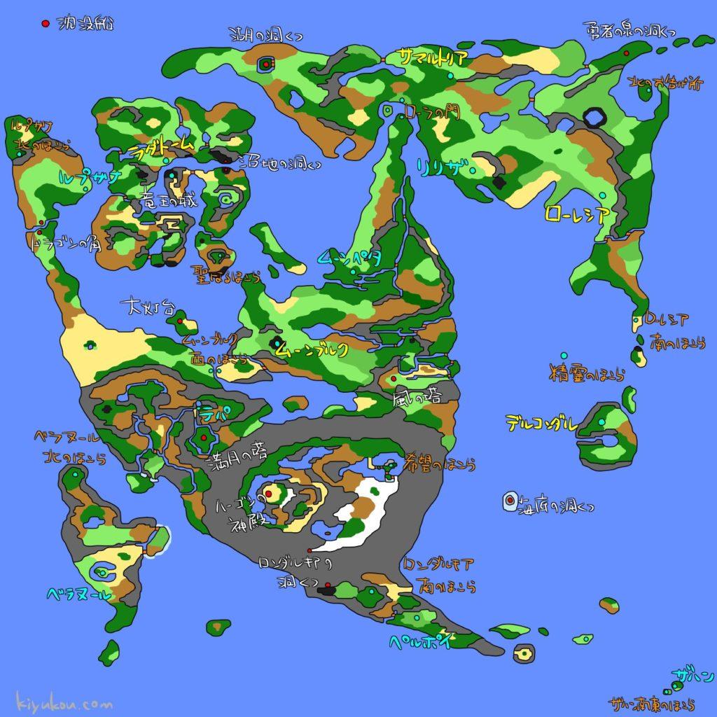 ドラゴンクエスト2のワールドマップ