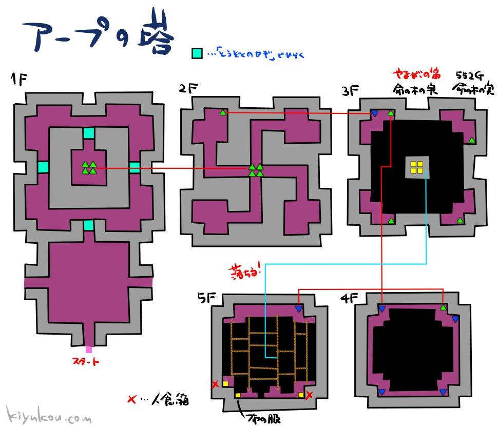 ドラゴンクエスト3のアープの塔のダンジョンマップ