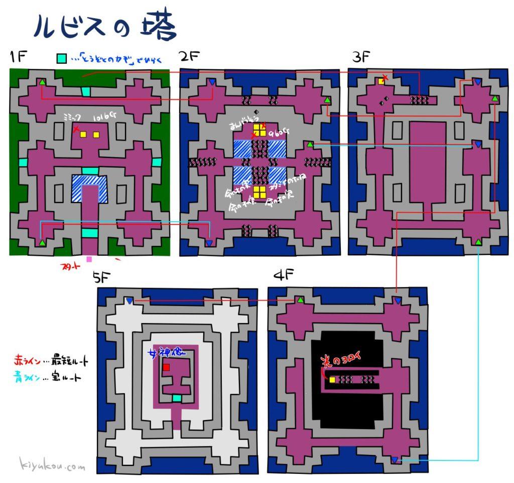 ドラゴンクエスト3のルビスの塔のダンジョンマップ
